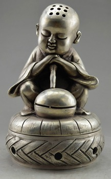 Collectible Decorated Old Handwork Tibet Silver Carve Monk Prayer Incense Burner