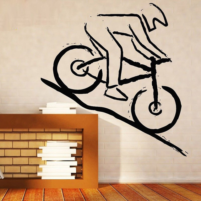 Wall Stickers Home Decor Vinyl Sticker Decal Mountain Bike Racer Rugged Terrain Compeion Diy