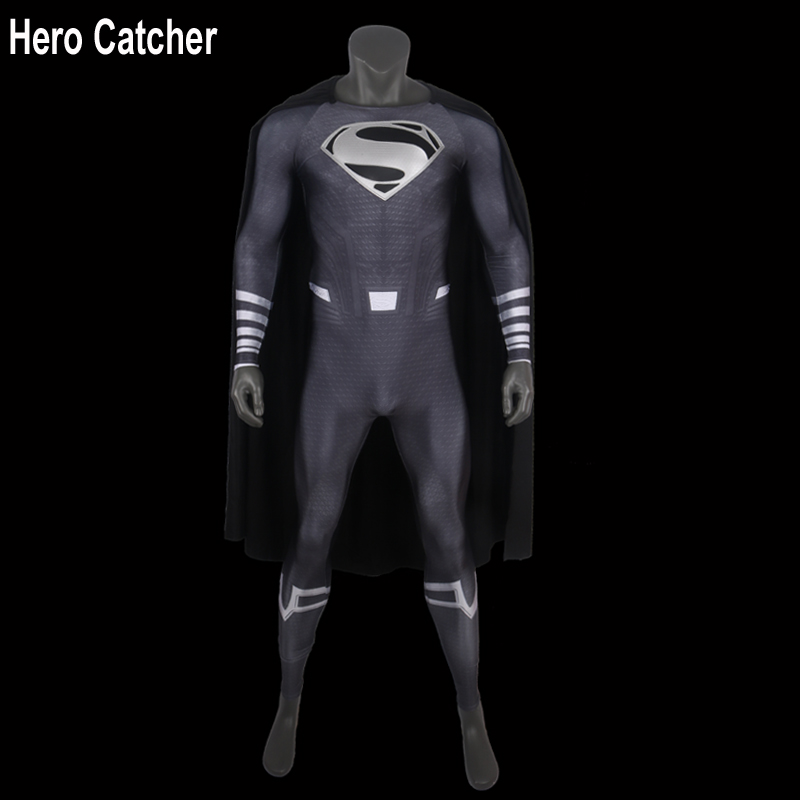 Hero Catcher-4 Top Quality Black Superman Cosplay Costume Muscle Shade Black Superman Suit