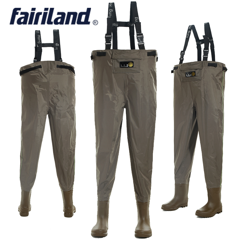 Waist Fishing Waders With Wading Pants Wading Boots Adjustable Shoulder Strap Comfortable Overall High Abrasion Resistance