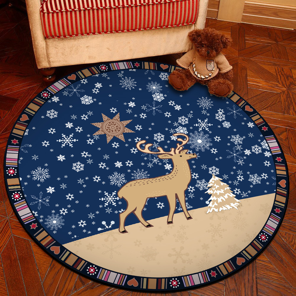 Round Carpet Personalized Creative Animal Printed Soft Carpets Anti-slip Rugs Computer Chair Mat Floor Mat for Home Kids Room