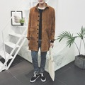 The new spring 2017 men's corduroy long thin black/paragraph dust coat grows in khaki size big yards students style jacket