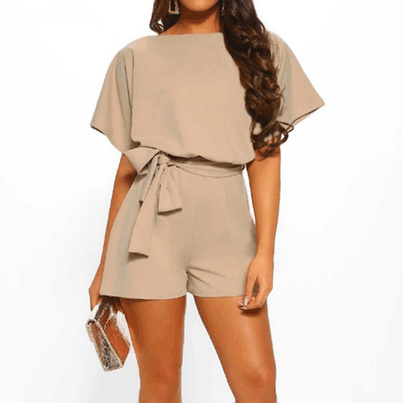 Women Short Sleeve Playsuit With Belt Fashion Solid Color Wide Leg Shorts Jumpsuit Summer Casual Round Neck Loose Beach Rompers