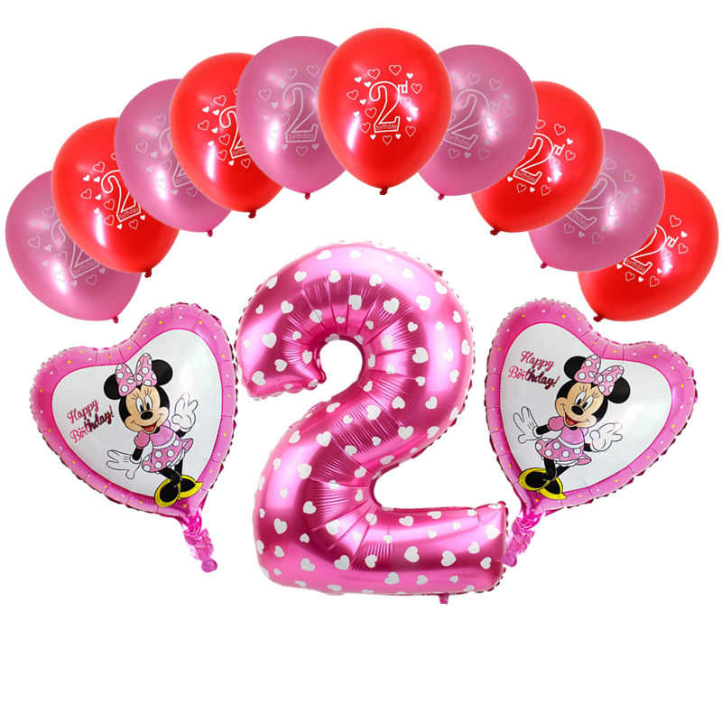 13pcs Set 2nd Birthday Balloons Digital 2 Foil Balloon For Years Old Baby