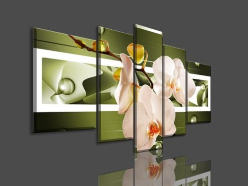Orchid Wall Decor Flower Painting Framed 5 Panel Large Canvas Art ...