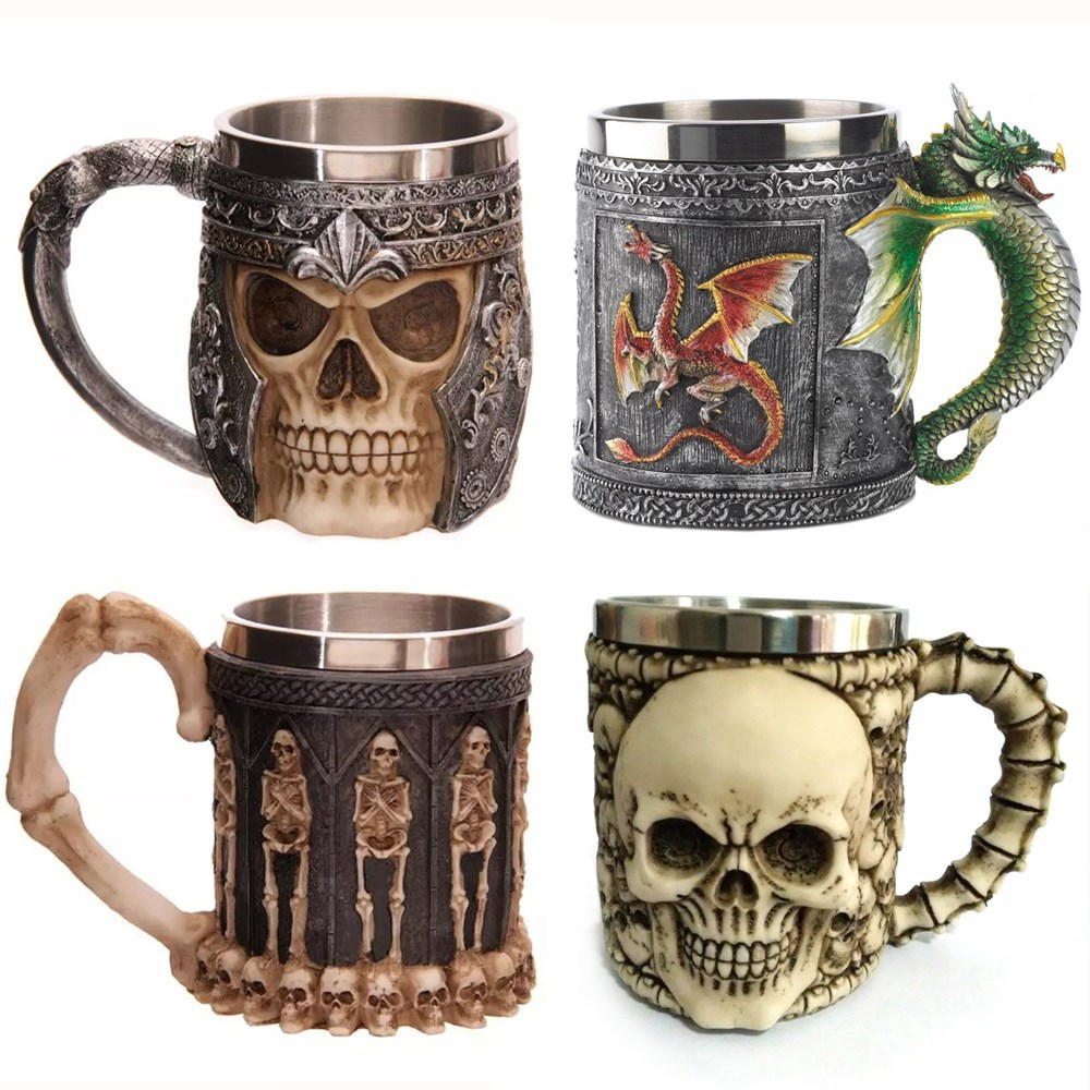 <font><b>Medieval</b></font> Renaissance 3D Skull Tankard <font><b>Knight</b></font> Coffee Mug <font><b>Cup</b></font>, my cool bottle, Creepy Drinking <font><b>Cup</b></font>