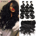 8A Ear to Ear Lace Frontal Closure With Bundles Malaysian Body Wave With Closure Full Frontal Lace Closure 13x4 With 3 Bundles