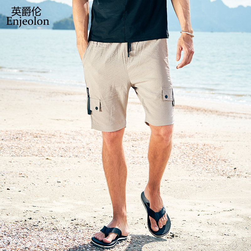 Enjeolon Brand Top 2020 Summer Casual Shorts Men Sim Nylon Solid Man Pocket Shorts Available Knee Length High Quality KZ6184