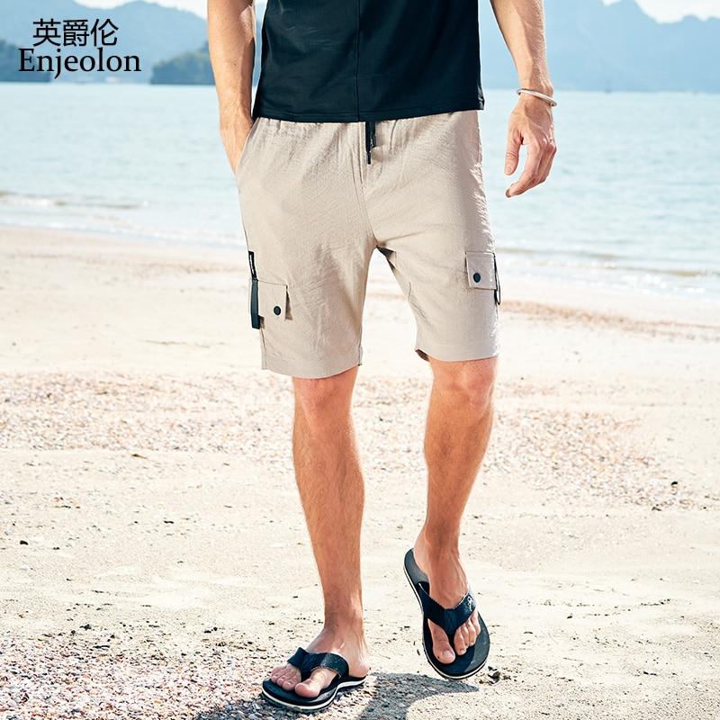 Enjeolon Brand Top 2020 Summer Casual Shorts Men Sim Nylon Solid Man Pocket Shorts Available Knee Length High Quality KZ6184