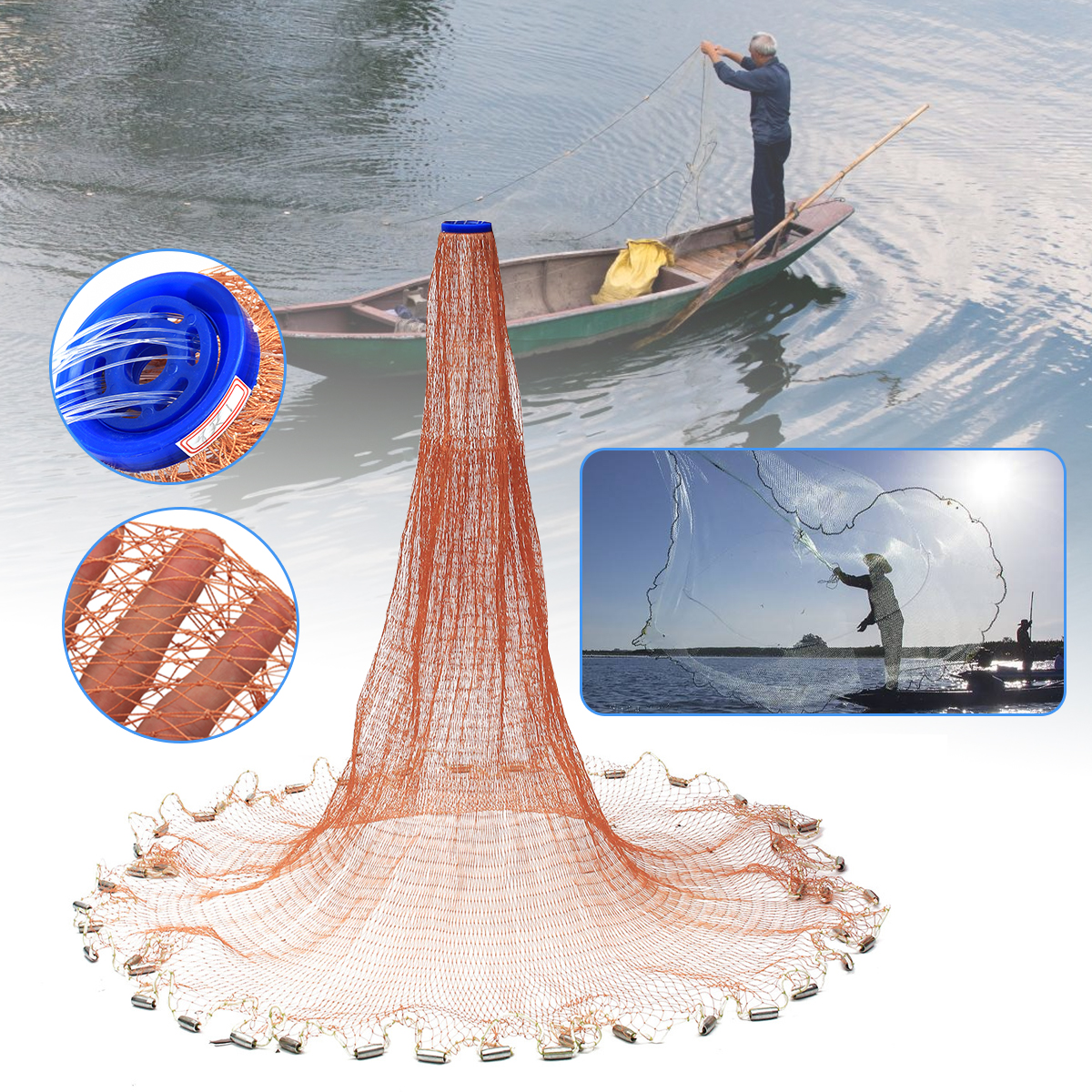 4.8M 8FT Cast Net Saltwater Bait Casting Net Strong Nylon Line with Sinker поводковый материал trabucco t force ultra strong saltwater