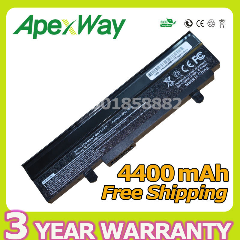 Apexway Black 6 cells 4400mAh 10.8v Battery for Asus A32-1015 AL31-1015 PL32-1015 Eee PC 1011 1015 1016 1215 R011 R051 Series цена