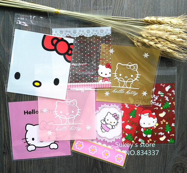 100pcs lot 2size Mixed style Hello kitty plastic bags 10x10cm food self  sealing bags cookie a9f60d6e65a4b