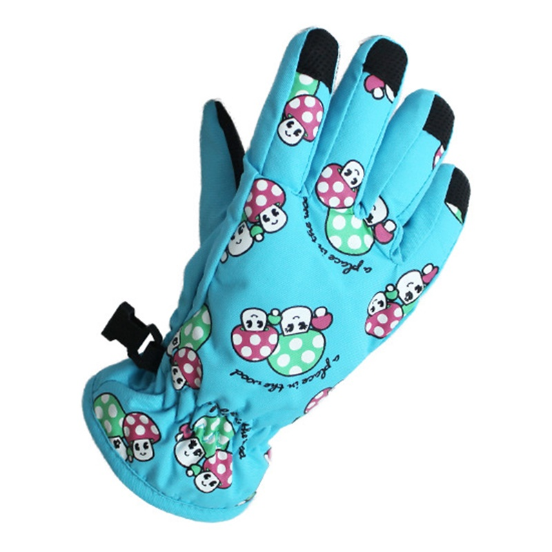 Mushroom Children Ski Gloves Snowmobile Motorcycle Winter Skiing Riding Climbing Waterproof Snow Gloves 2-4 Years Old