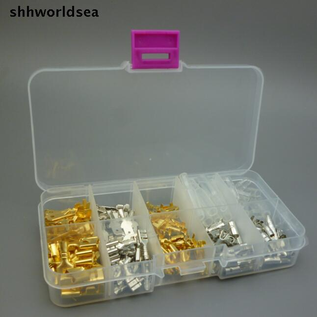 shhworldsea 150PCS 6.3MM 2.8MM 4.8MM 4.0MM Mix order 10 kinds Female Male Car Spade Connector copper Splice Crimp Wire Terminal