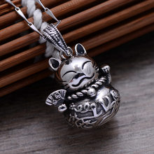 Lucky Cat & Lucky Bag 925 Sterling Silver Retro Necklace Pendant Men & Women Thai Silver Fine Jewelry Gift CH057872(China)