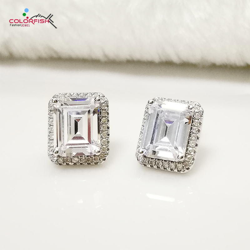 COLORFISH 2 5 ct Rectangle Brilliant Cut Sona Stud Earring Women Engagement Wedding Jewelry 925 Sterling
