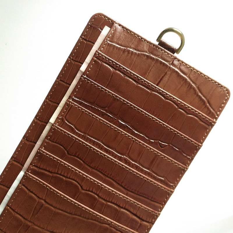 brown genuine leather strap card pouch bag case for iPhone x xs max