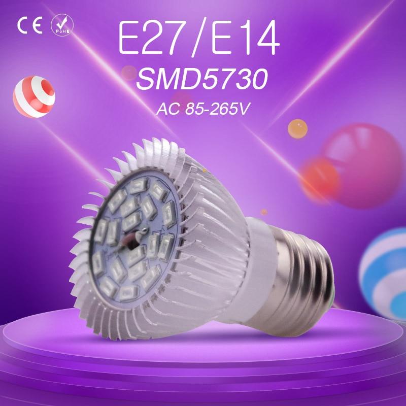 E14 18leds Full Spectrum LED Grow Light Growth for Indoor greenhouse Desktop Plants Flower with E27 AC85-265V LED Spotlight Bulb