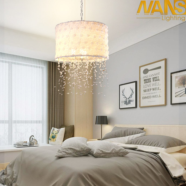 Modern Clear Crystal warm/ cold / natural 36W LED Chandeliers for Dining/bedroom with White Fabric Lampshade Suspension Lamp