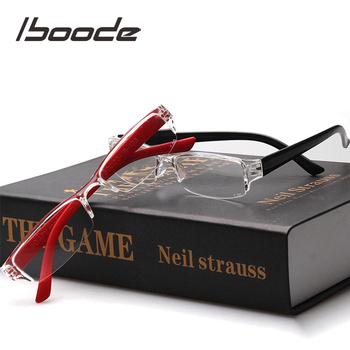 Iboode Unisex okulary do czytania dla starszych mężczyzn kobiety lekkie okulary do czytania przezroczysta kwadratowa ramka okulary do czytania mężczyzn tanie i dobre opinie WOMEN Jasne Lustro 2 6cm Z tworzywa sztucznego 5 3cm