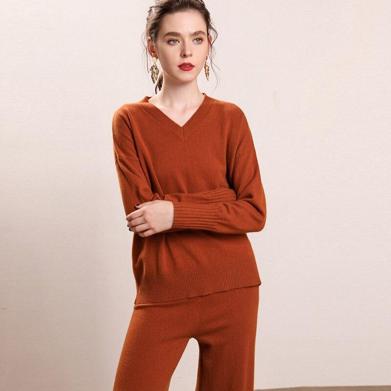 Для женщин комплекты 100% пашмины Вязание свитера + Леггинсы Новинка зимы облегающей кожей мягкие Пуловеры из чистого кашемира одежда Джемпе