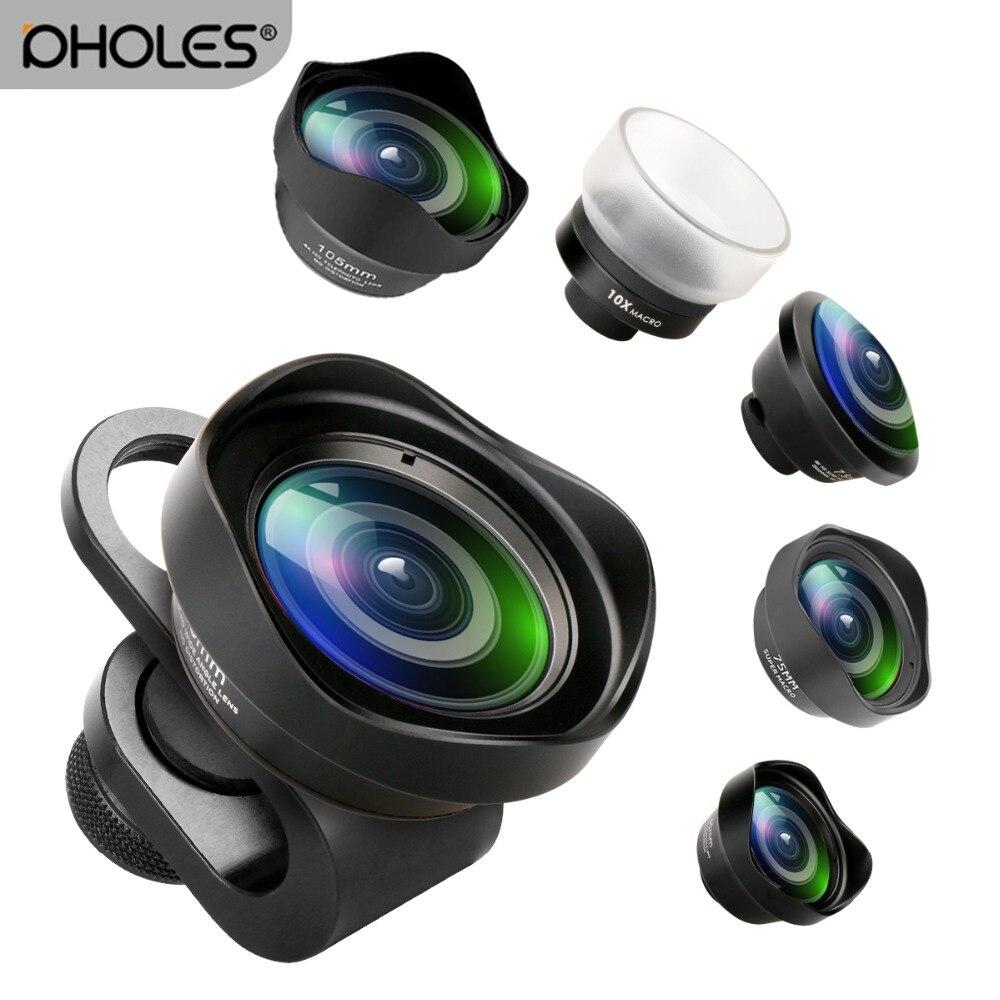 Pholes de ángulo ancho lente Macro para iPhone android de ojo de pez retrato teleobjetivo lente con Clip para iPhone Xs Max XR X piexl Samsung