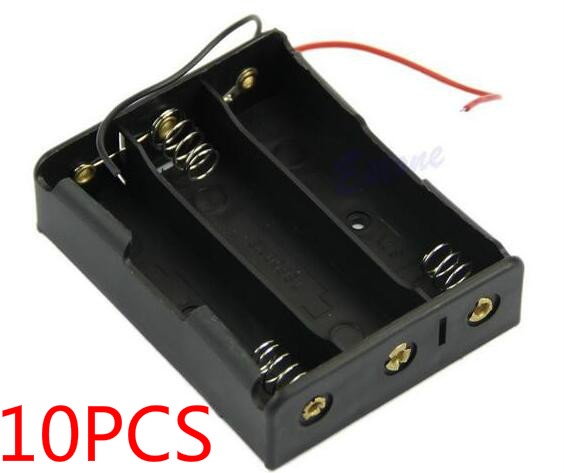 10PCS 18650 Battery Case Storage Box Case Plastic Holder With Wire Leads for <font><b>3x18650</b></font> Batteries Soldering Cnnecting Black Digital image