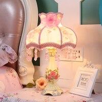 Toolery Современные Простые Настольная лампа розовый Детская комната украшения стола Ткань абажур тело смолы лампа исследования настольная л