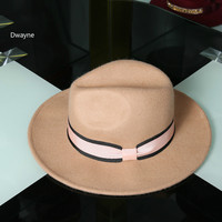 2017 ניו סתיו נשים כובע צמר אוסטרלי קשת אפס מקום נוקשה כובע ג 'אז צמר Felt פדורה Hat רגיל בציר מזדמן חורף כובעי