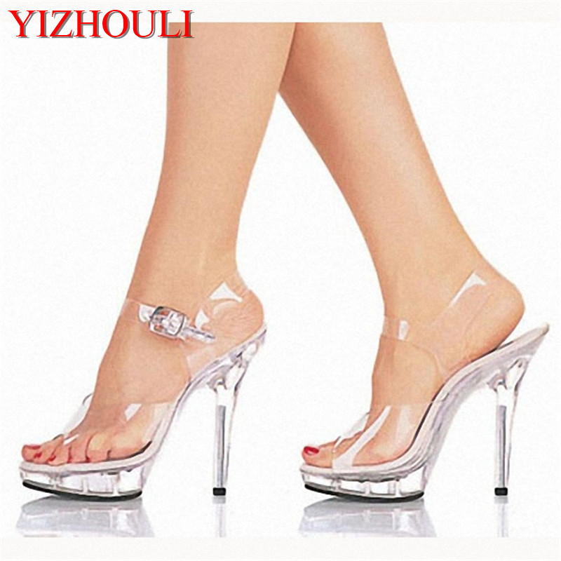 13cm high heeled shoes lady platform crystal sandals low price ...