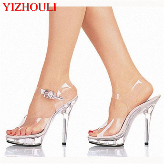 c00294998f8 13cm high-heeled shoes lady platform crystal sandals low price dance shoes  5 inch high heels sexy stripper shoes