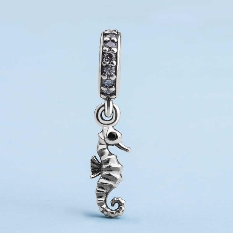 Melek Arayan Gerçek 925 Ayar Gümüş Hayvan Seahouse kolye uçları kristal boncuklar fit Kadınlar DIY Güzel Takı Yapımı CYZ008