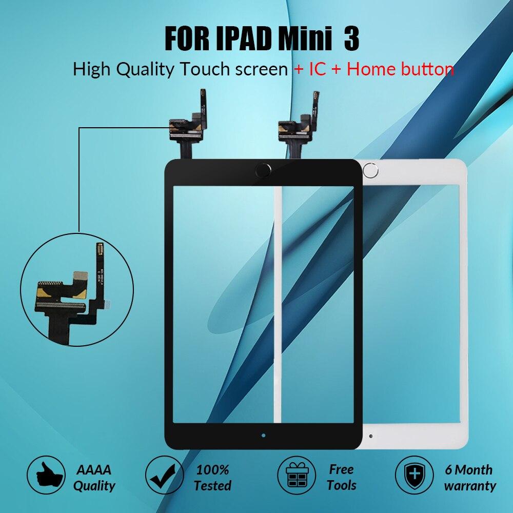 Tela de Toque De Vidro Touchscreen Para iPad Mini 3 Mini3 Botão Home Digitador Com IC Conector Para iPad mini 3 A1599 a1600 A1601