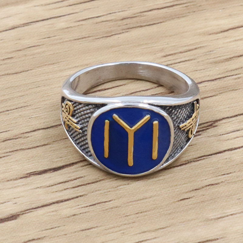 High Quality Blue Islam Rings Turkey Ottoman Empire Muslim Allah 316L Stainless Steel Gold Silver Men Ring Accessories(China)