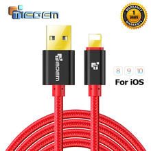 TIEGEM 1/2/3M 2A Nylon USB Charger Cable for iPhone 5 5s 6 6s 7 Plus iOS 9 10 Fast Chargin