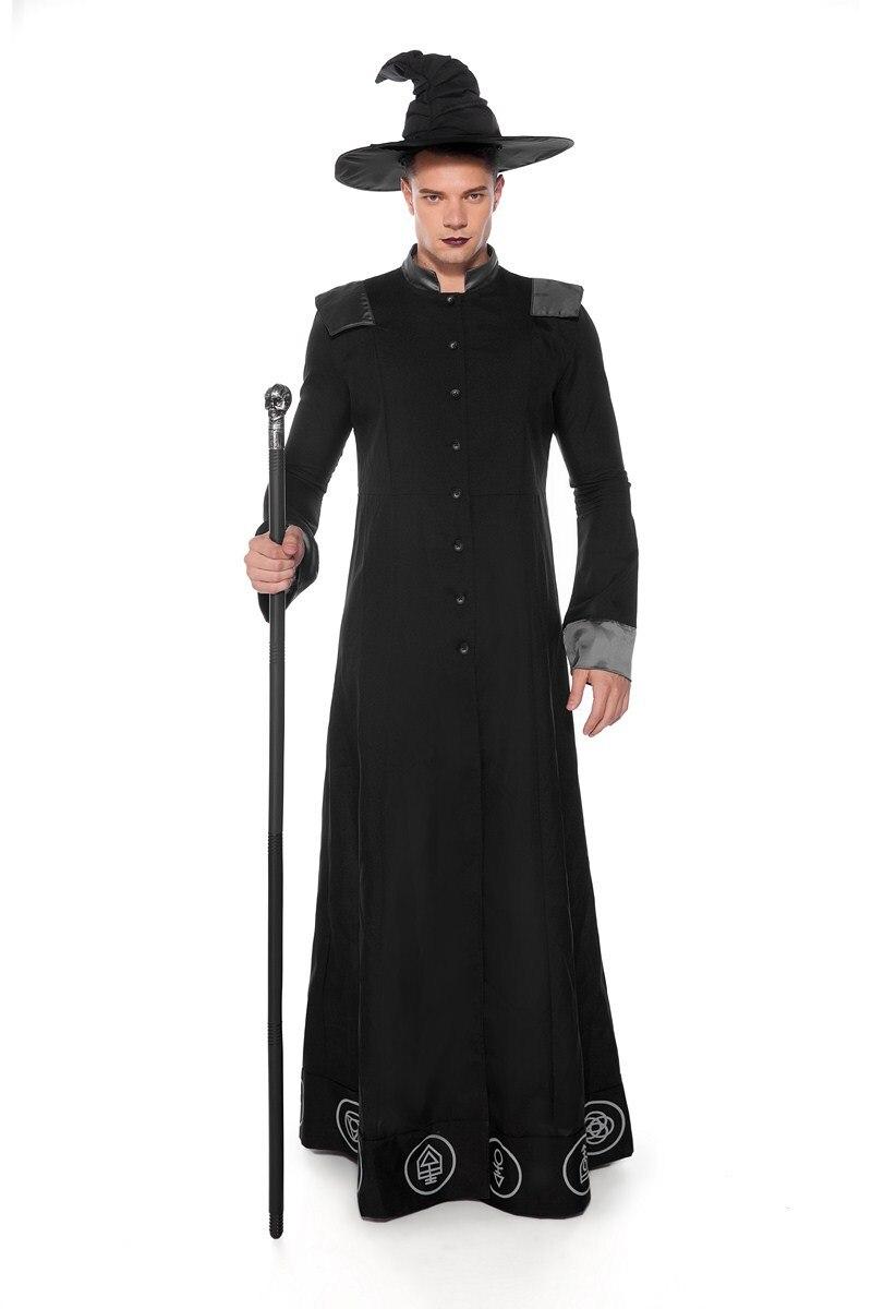 Classique magicien Costume Halloween magiciens Witcher prophète Cosplay Costumes hommes mascarade fête assistant noir longue Robe