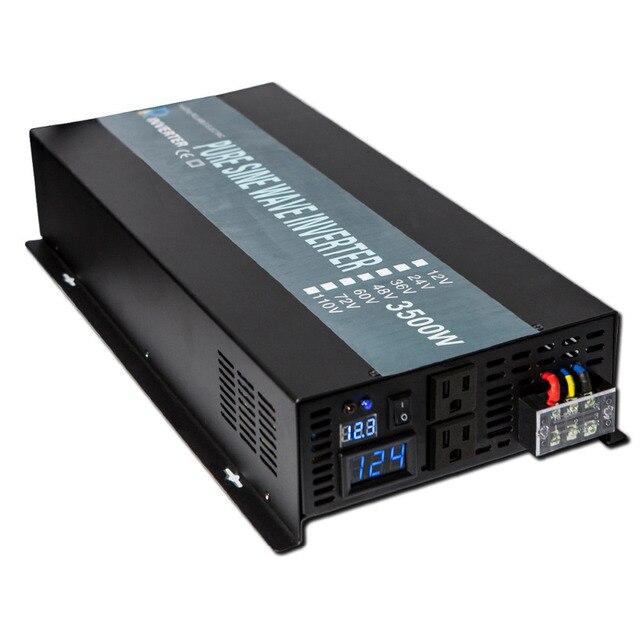 Off Grid 3500W Pure Sine Wave Solar Inverter 24V 220V Car Power Inverter 12V/24V DC to 100V/120V/240V AC Converter Power Supply 4