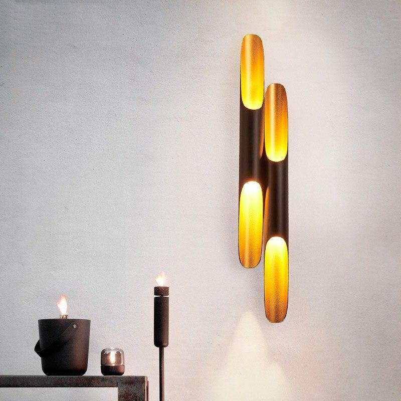 Modern LED Wall Lights Replica Delightfull Coltran Wall Sconce Lamp Aluminum pipe Wing black golden home