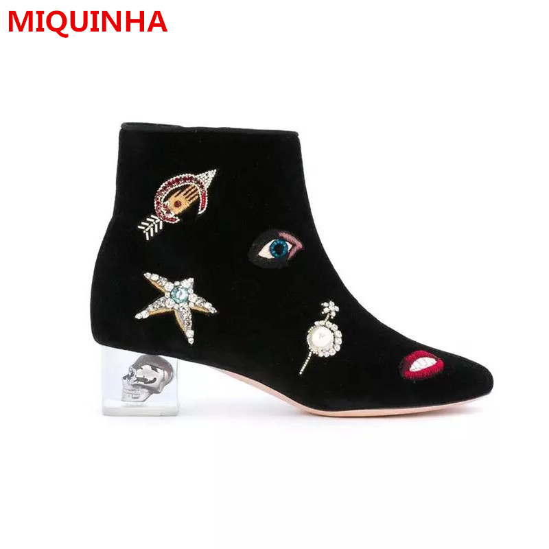 2017Autumn Winter Shoes Woman Ankle Boots Chic Embroider Round Toe Side Zip Crystal Heels Woman Boots Designer Plus Size Booties enmayla ankle boots for women low heels autumn and winter boots shoes woman large size 34 43 round toe motorcycle boots