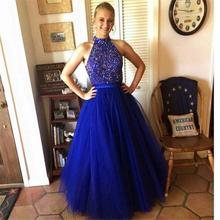 Blau Prom Kleider Kristall 2017 Sparkly Großen Perlen High Neck Robe de soiree Tüll Elegante Weg Von der Schulter Zurück Langes Abschlussball-kleid