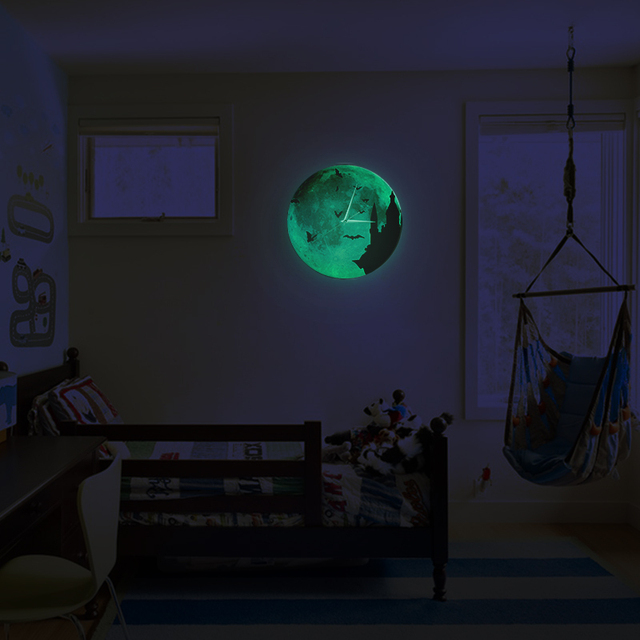 Funlife Tm Castle Night Bat Glowing Moon Wall Clock Creative Gift For Kids Room Quartz Sweep Silence Home Decor 30cm 12inch