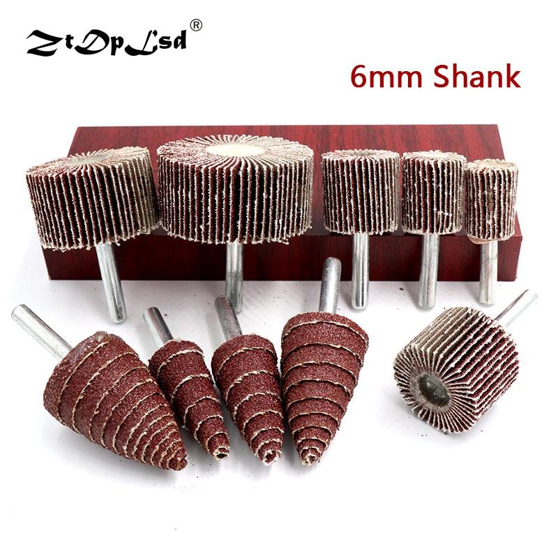 1Pcs 6mm Shank Grit 80# Sandpaper Grinding Sanding Head Flap Polishing Wheel Discs Mandrel For Rotary Mini Drill Tools