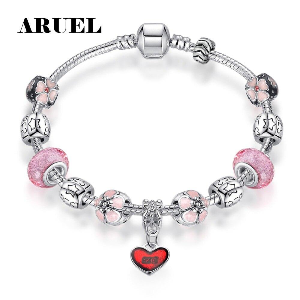 Aruel Модные Серебристые Браслеты для Для женщин девочки безопасной цепи Шарм Кристалл DIY бисером браслет дружбы ювелирных изделий подарок