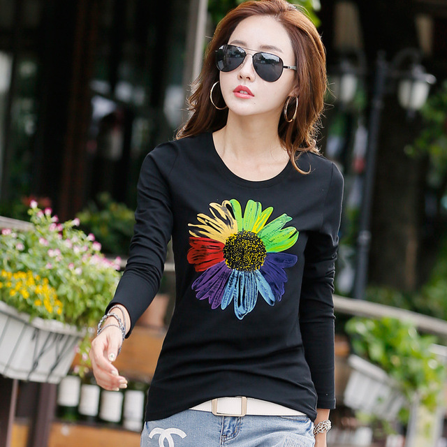 New 2017 T Shirt Women Long Sleeve Cotton T-shirts For Women Fashion Print Female T-shirt Casual Winter Tops Tees Camisetas