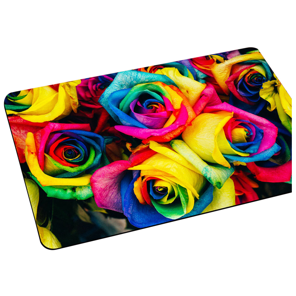 HOT GCZW-Fashion Floral Door Mat Indoor Room Entrance Mats Non-slip Bathmat Table Mats Colorful Rose