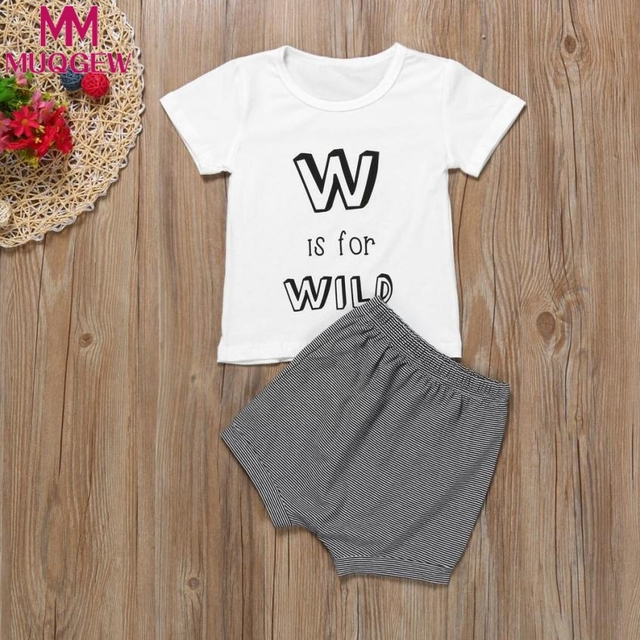 e468aa4563c MUQGEW Newborn Infant Kids Baby Girls Boys Letter Print T-shirt+Pants  Outfits Cloth
