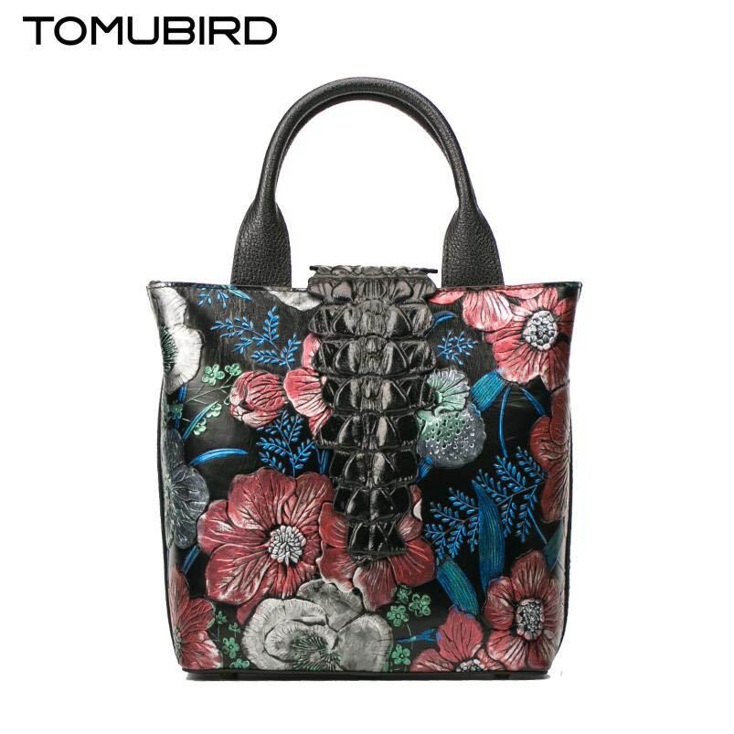 TOMUBIRD new superior cowhide leather Painting Genuine leather Embossed crocodile pattern women Leather Handbags Tote leather tomubird 2017 new superior cowhide leather painting genuine leather embossed women leather handbags tote leather shoulder bag