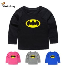 TINOLULING Children Kids Batman T shirt Long sleeve T-shirt For Girls Boys 12 Colors Baby Cartoon Tees For 2-12 Years(China)