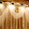 3M x 3M LED Fairy String Curtains Light  Icicle Lights Ideal for Indoor Outdoor Home Garden Christmas Party Wedding night light