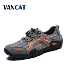 Vancat 2019 New Brand Mens Breathable Mesh Men's Shoes Outdoor Flat Shoes Men Comfortable Handmade Casual Shoes Big Size 38-48
